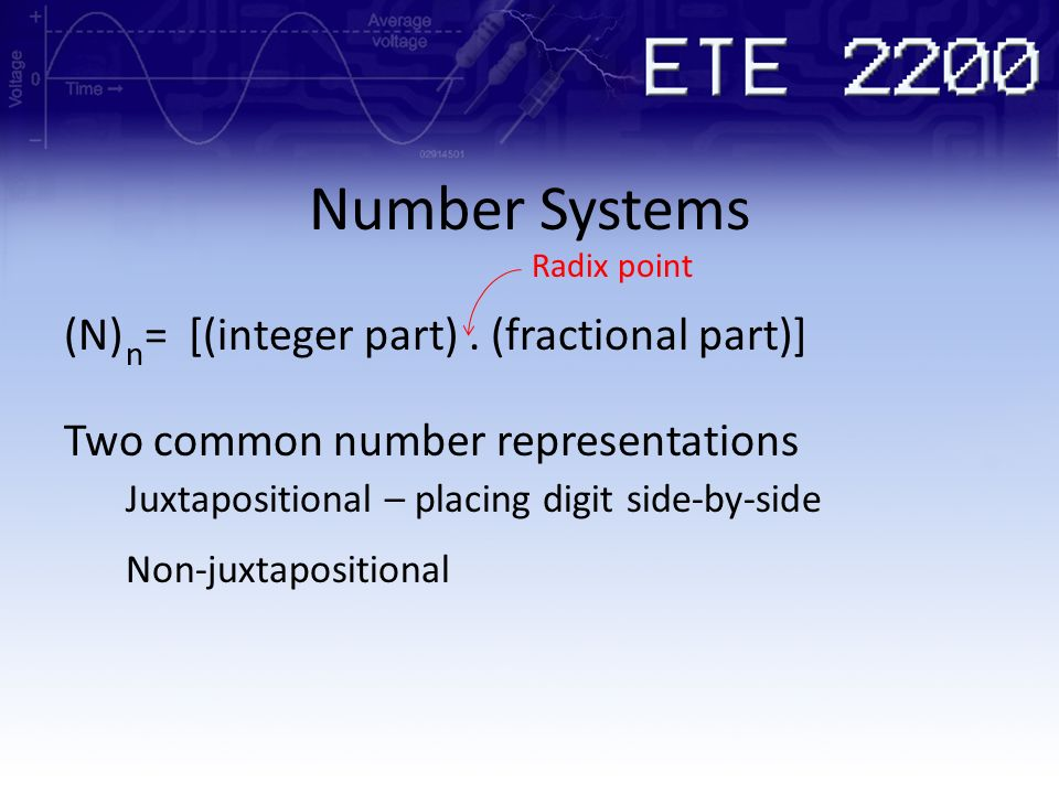 Number Systems (N) = [(integer part) . (fractional part)]